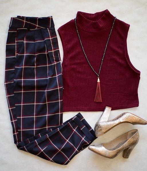 Kasper plaid trouser pants