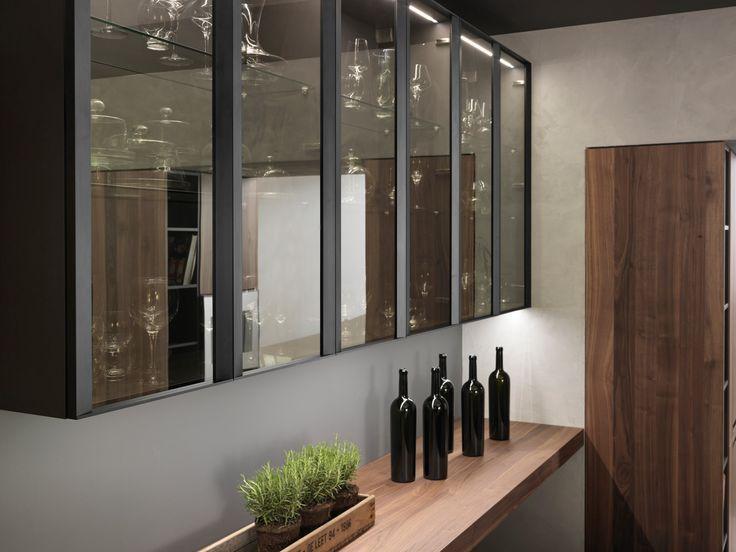 Ombra Glass Door Units With Aluminium Frame In Matt Black Finish And Stopsol Fume Glass Glass Kitchen Cabinets Modern Kitchen Design Home Goods Decor