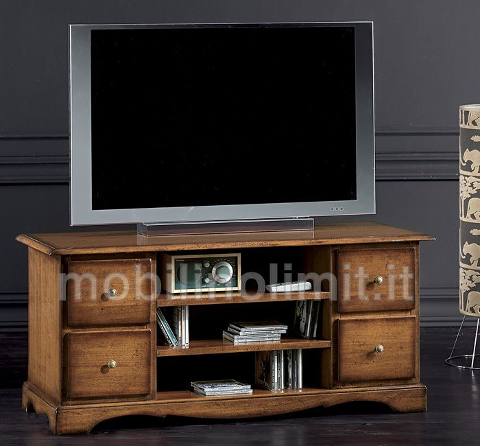 Porta Tv classico 4 cassetti (grezzo) L 117 cm x P 49 cm x H 53 cm ...