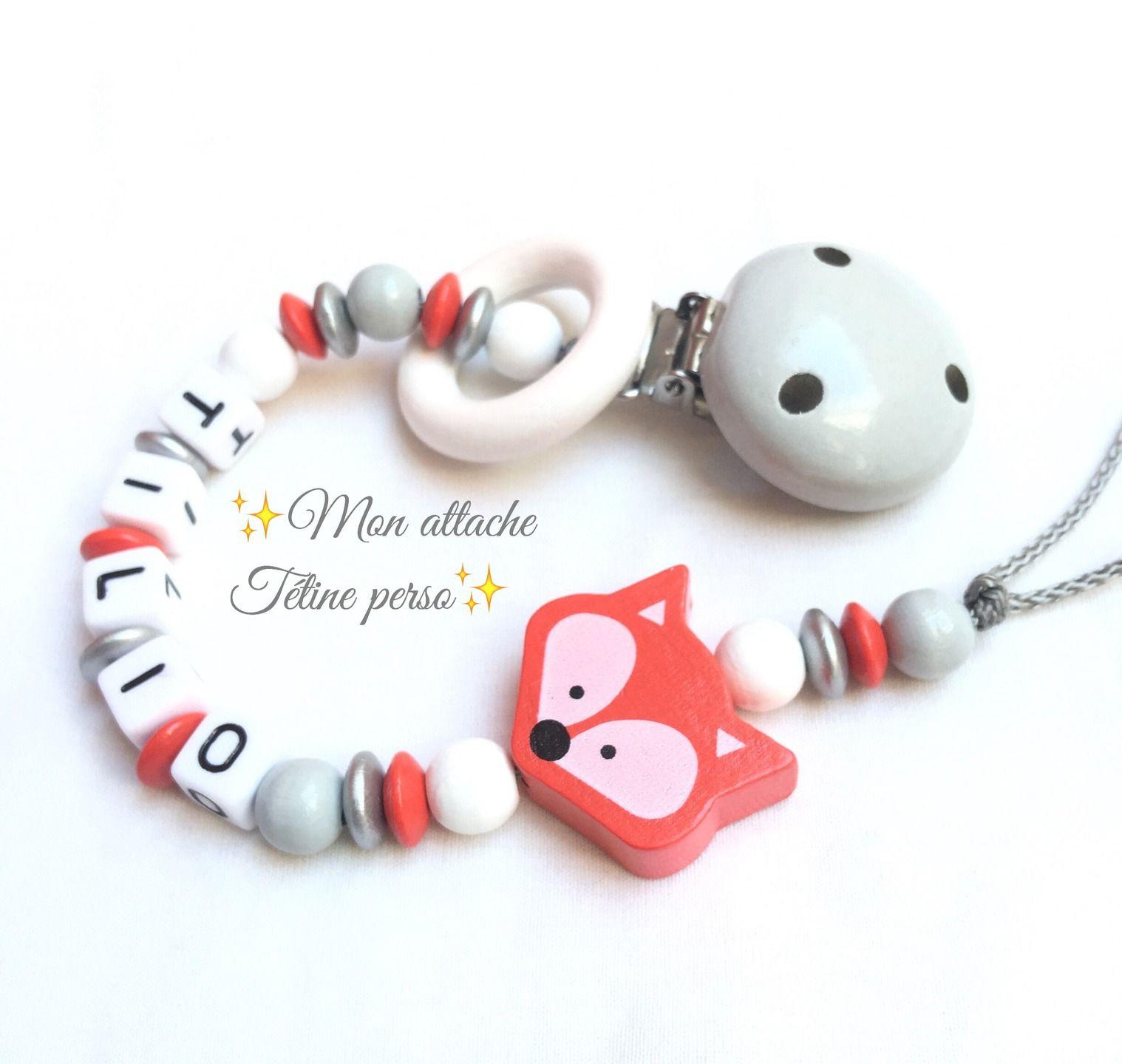 Attache t tine personnalis e perles en bois mod le - Perle en bois pour attache tetine ...