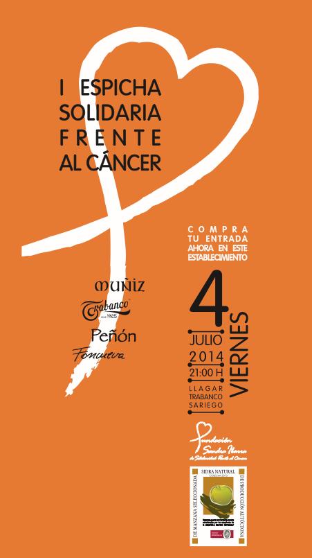 I Espicha solidaria frente al cáncer, para apoyar proyectos de investigación sobre esta enfermedad. Se celebrará el próximo viernes 4 de julio en el Llagar de Trabanco Sariego. Podéis ayudar a difundirla entre la gente de la zona… muchas gracias!!  #espichasolidaria #asturias