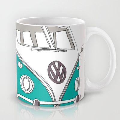 Blue Volkswagen Camper Van (Landscape) (Kombi / VW) Mug by bluebutton studio - $15.00