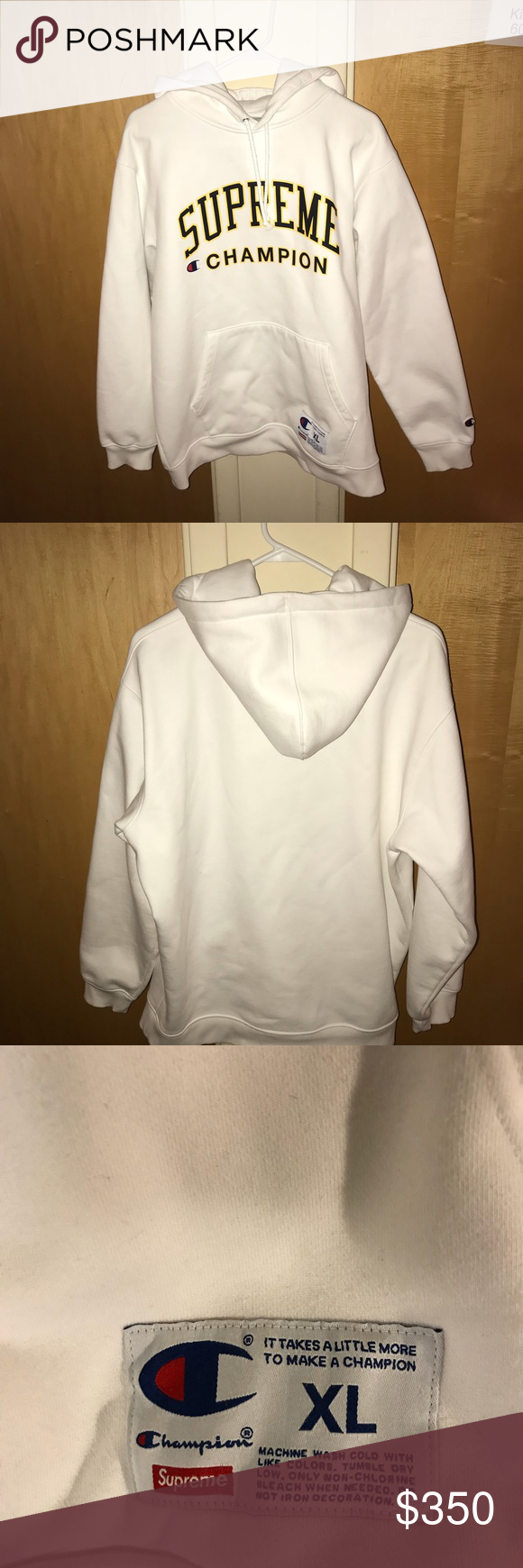 Supreme X Champion Hooded Sweatshirt White Champion Hooded Sweatshirt Hooded Sweatshirts White Sweatshirt [ 1740 x 580 Pixel ]