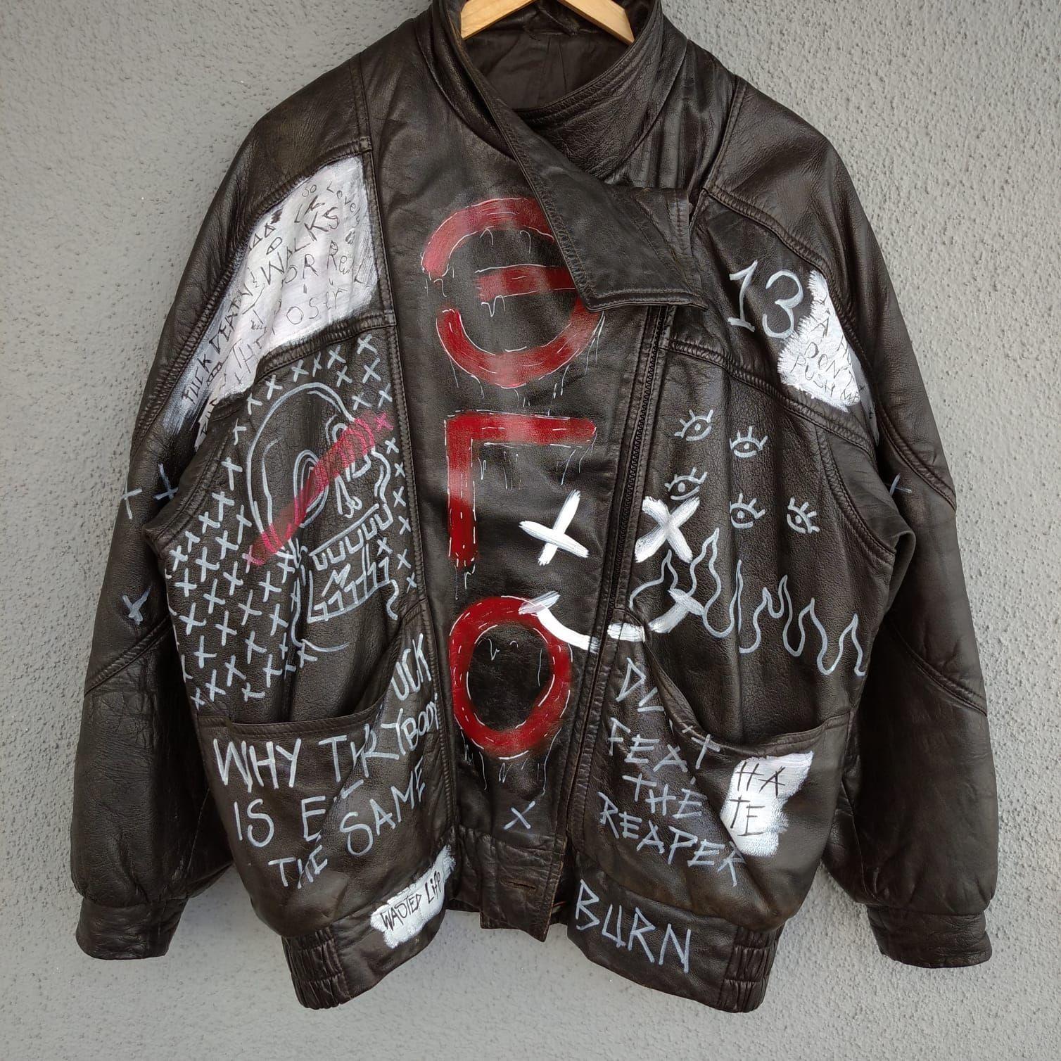Hand Painted 90 S Street Wear Custom Punk Leather Biker Jacket Street Wear Punk Fashion How To Wear [ 1508 x 1508 Pixel ]