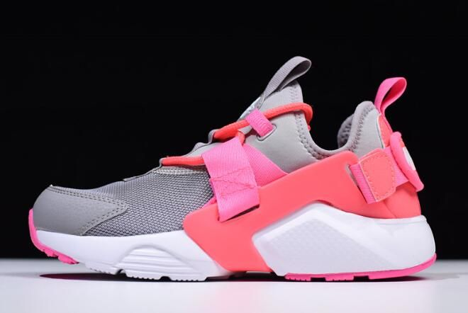 e57a181357b27d Women s Nike Air Huarache City Low Cream Grey Sun Red-White Pink AH6804-007