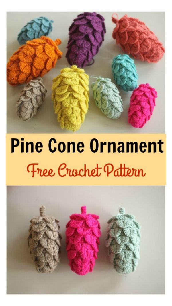 Pine Cone Ornament Free Crochet Pattern | Häkeln, Häkelideen und ...