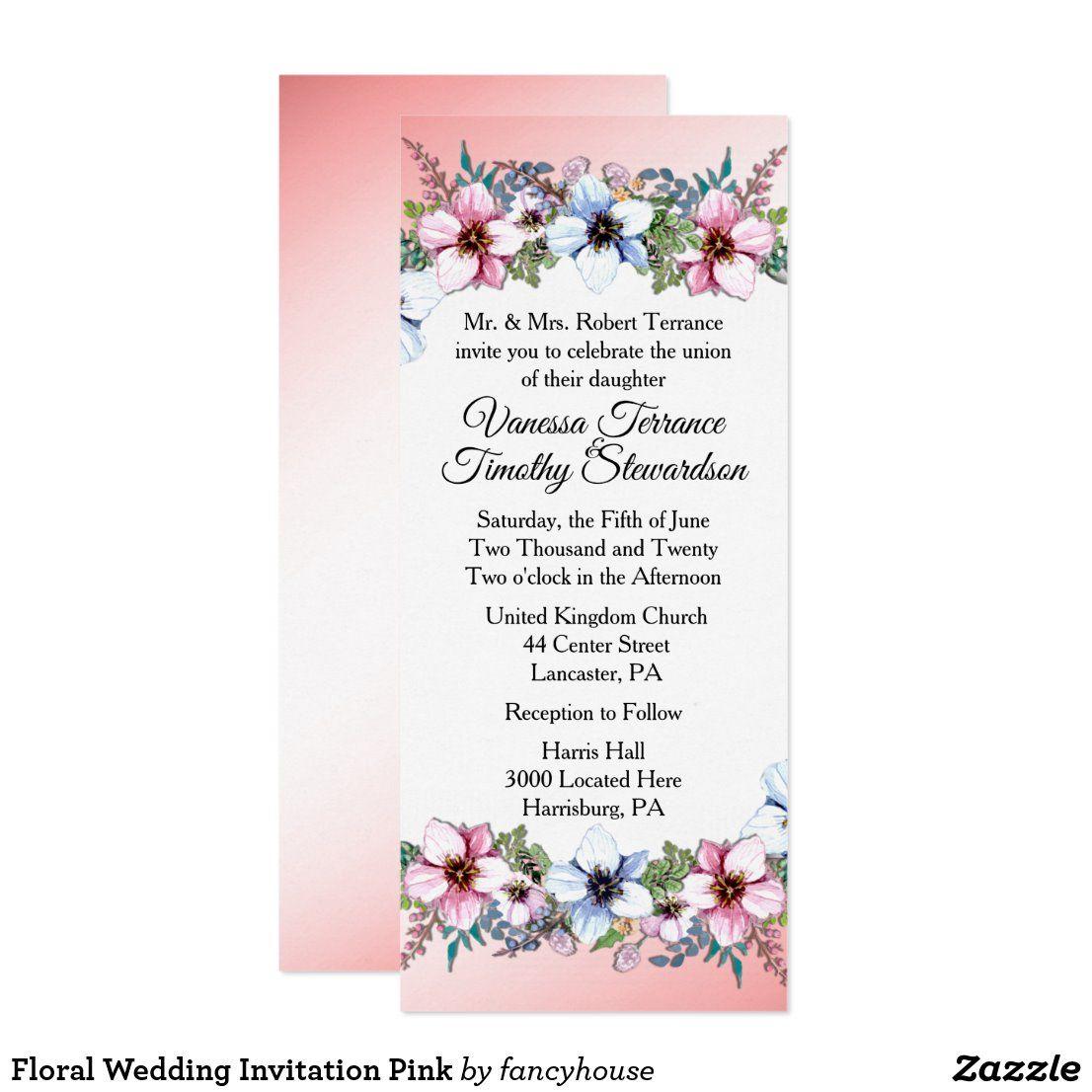 Floral Wedding Invitation Pink Zazzle Com In 2020 Pink Wedding Invitations Floral Wedding Invitations Wedding Invitations