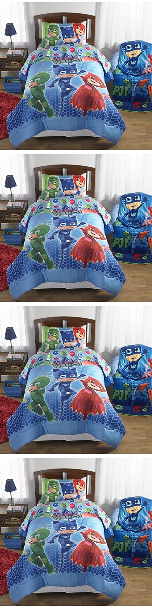 L&M 4 Piece Kids Blue Red PJ Mask Comforter Set Twin