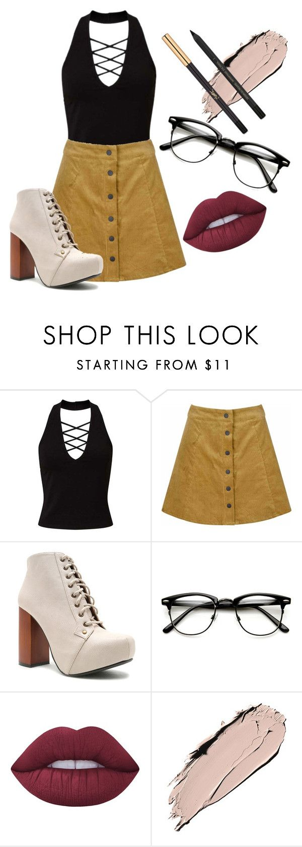 """""""Untitled #194"""" by mariemace on Polyvore featuring Miss Selfridge, Glamorous, Qupid, Lime Crime and Yves Saint Laurent"""