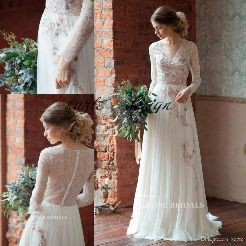 Discount Vintage Soft Lace Tulle Bohemian Wedding Dresses With Long Sleeve 2018 Sequins Floral Fairy Jewel Country Garden Bridal Dress Cheap Wedding Dresses Sal Cheap Bridal Dresses Wedding Dresses Long Sleeve