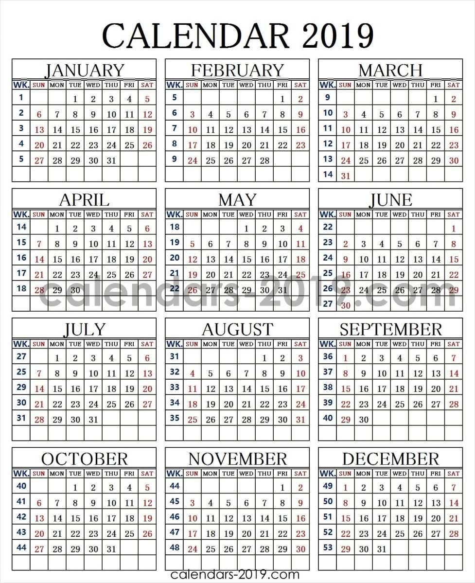 2019 Calendar Week Numbers 2019 Calendar Weekly Calendar Calendar