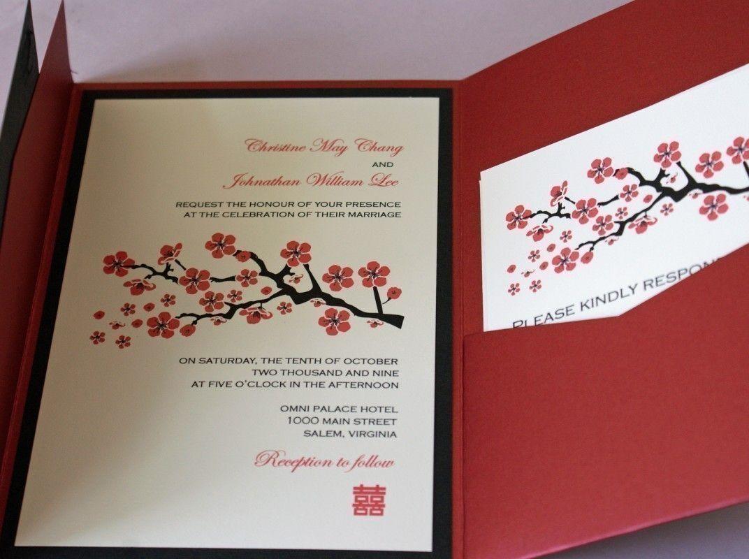 Red Cherry Blossom Pocketfold Wedding Invitation (Sample Only ...