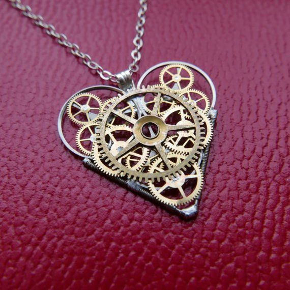 Watch Parts Heart Necklace \