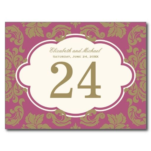 Raspberry Plum Gold | Wedding Table Number Card Postcards