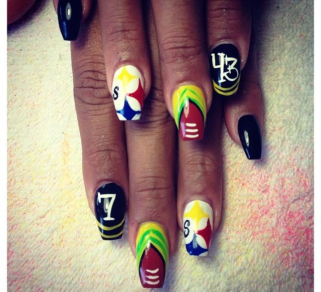 Pride Nail Designs: Football Fan ?. Steelers Pride : Nail Art. Represent Your
