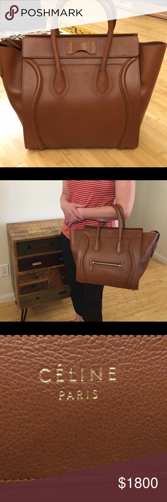 6f7367b3ee Céline Micro Luggage Brown Leather Travel Bag CELINE CARAMEL BROWN BABY  CALFSKIN LEATHER MINI LUGGAGE BAG