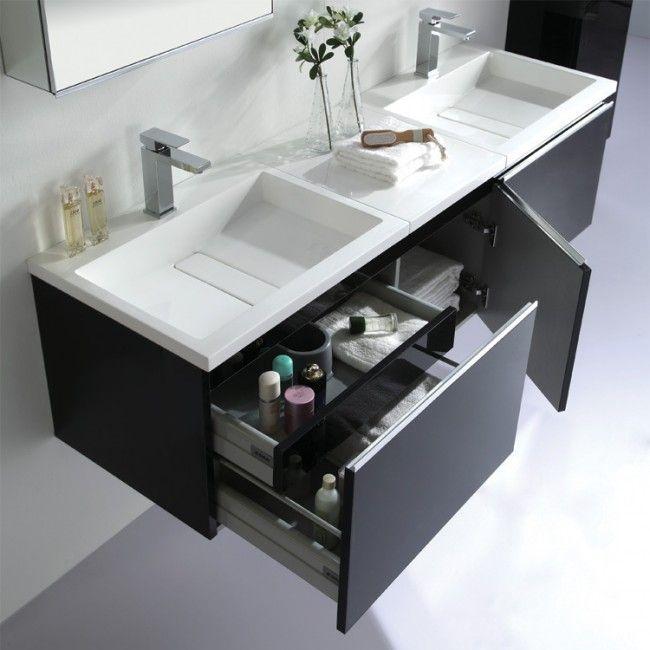 Doppelwaschbecken Mit Unterschrank eago badmöbel me 1600 schwarz unterschrank 160x45cm inkl