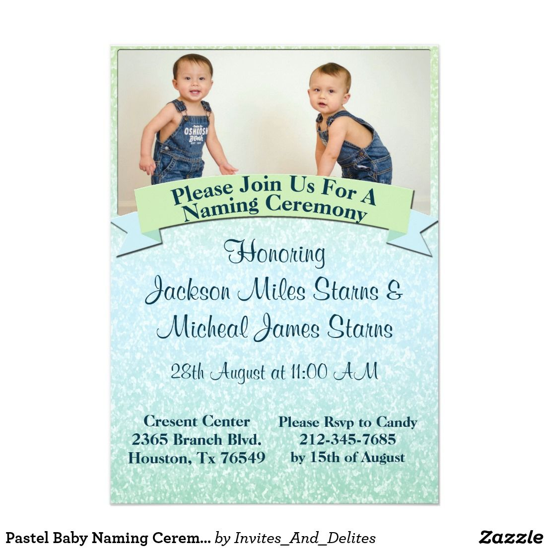 Pastel Baby Naming Ceremony Invite  Zazzle    Naming