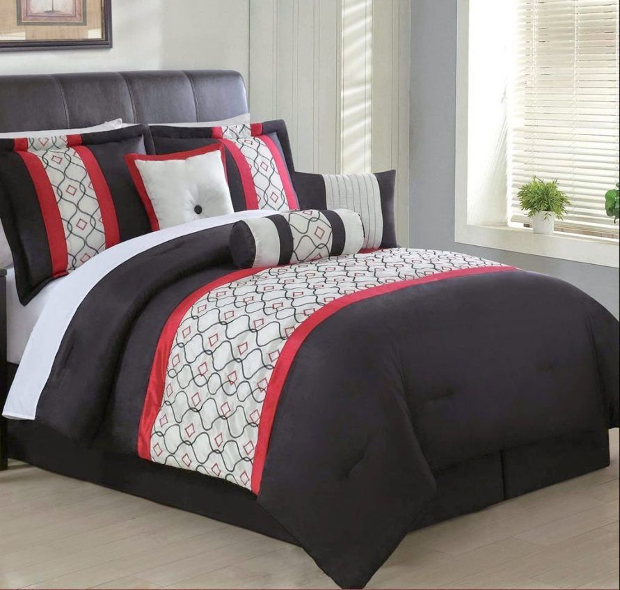 7 Piece Red Black And White Comforter Set With Accent Pillows Amazing Black Red Comforter 4 Red Bedding Red And Black Bedding Comforter Sets