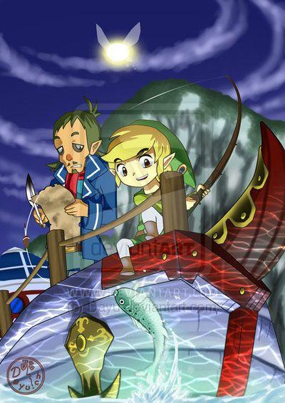 The Legend of Zelda: Phantom Hourglass, Toon Link, Captain Linebeck, and  Ciela, Original Fish by Artist / Zelda: Phantom Hourg…   Legend of zelda,  Zelda art, Artist