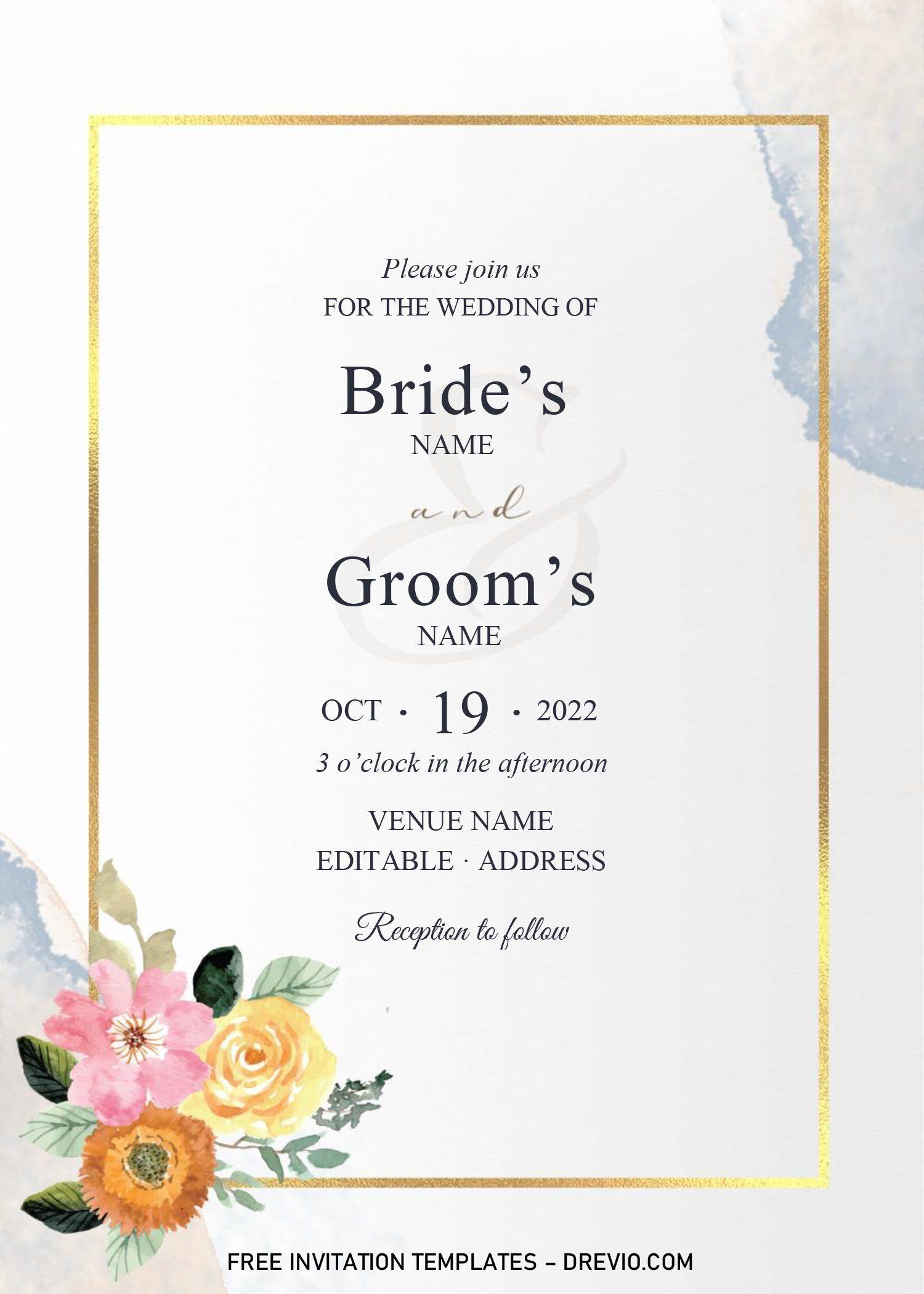 Golden Frame Wedding Invitation Templates Editable With Microsoft Word Wedding Invitation Templates Invitation Template Free Printable Birthday Invitations