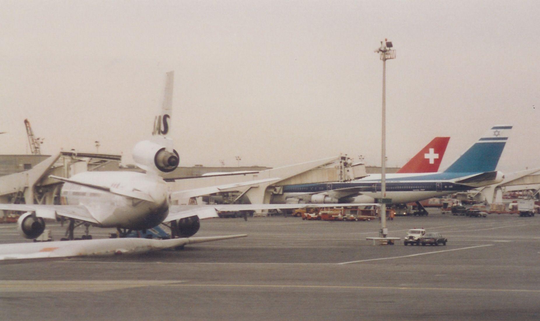 SAS DC-10 and El Al and Swissair 747s at New York JFK International Airport