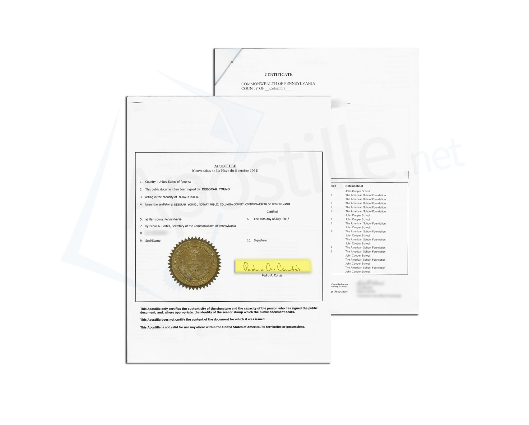 State of Pennsylvania Apostille issued by Pedro A Cortés Secretary ...