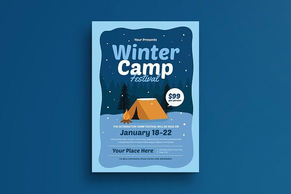 Winter Camp Festival Flyer By Vectorvactory On Creativemarket