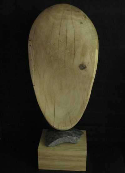 Oak on granite fragment on oak #sculpture by #sculptor Rosemarie Powell titled: 'Give and Take (Carved Wood Contemporary abstract Indoors statuette/statue)'. #RosemariePowell