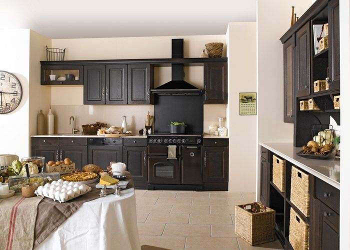 cuisine noire style bistrot photo decorations microwave deco cuisine