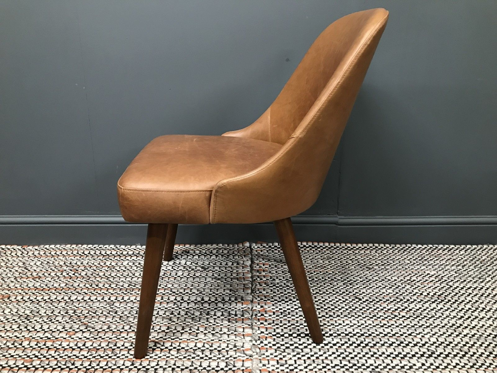 Details about midcentury chair in saddle leather by west