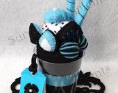 Surreal Black and Blue Strawberry Parfait Felt Cup with mini Hand-painted Card: Gift Box Included