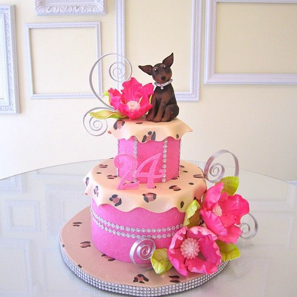 Puppies, pink, and bling was the theme for this fun and girly birthday cake this weekend! :) - @Lindsey Sinatra- #webstagram