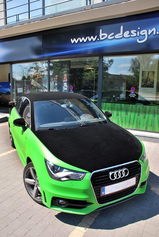 Audi A1 Velvet Car Tuningfilm Velvet Black Apple Green