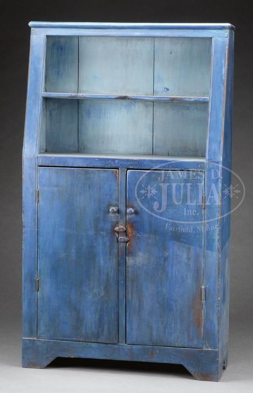 ARCHITECTURAL CANT-BACK OPEN-TOP CUPBOARD IN BLUE PAINT.Second ...