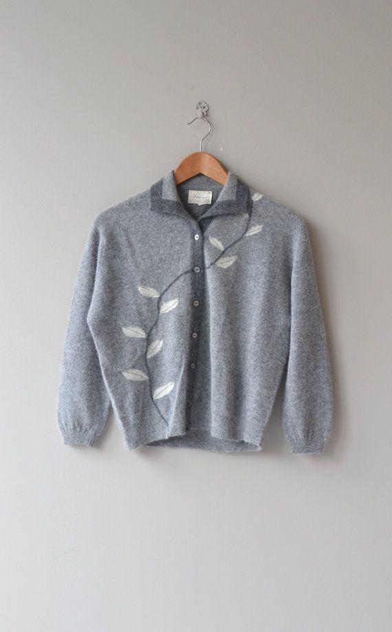 Winter Leaf cardigan vintage 50s cardigan wool by DearGolden