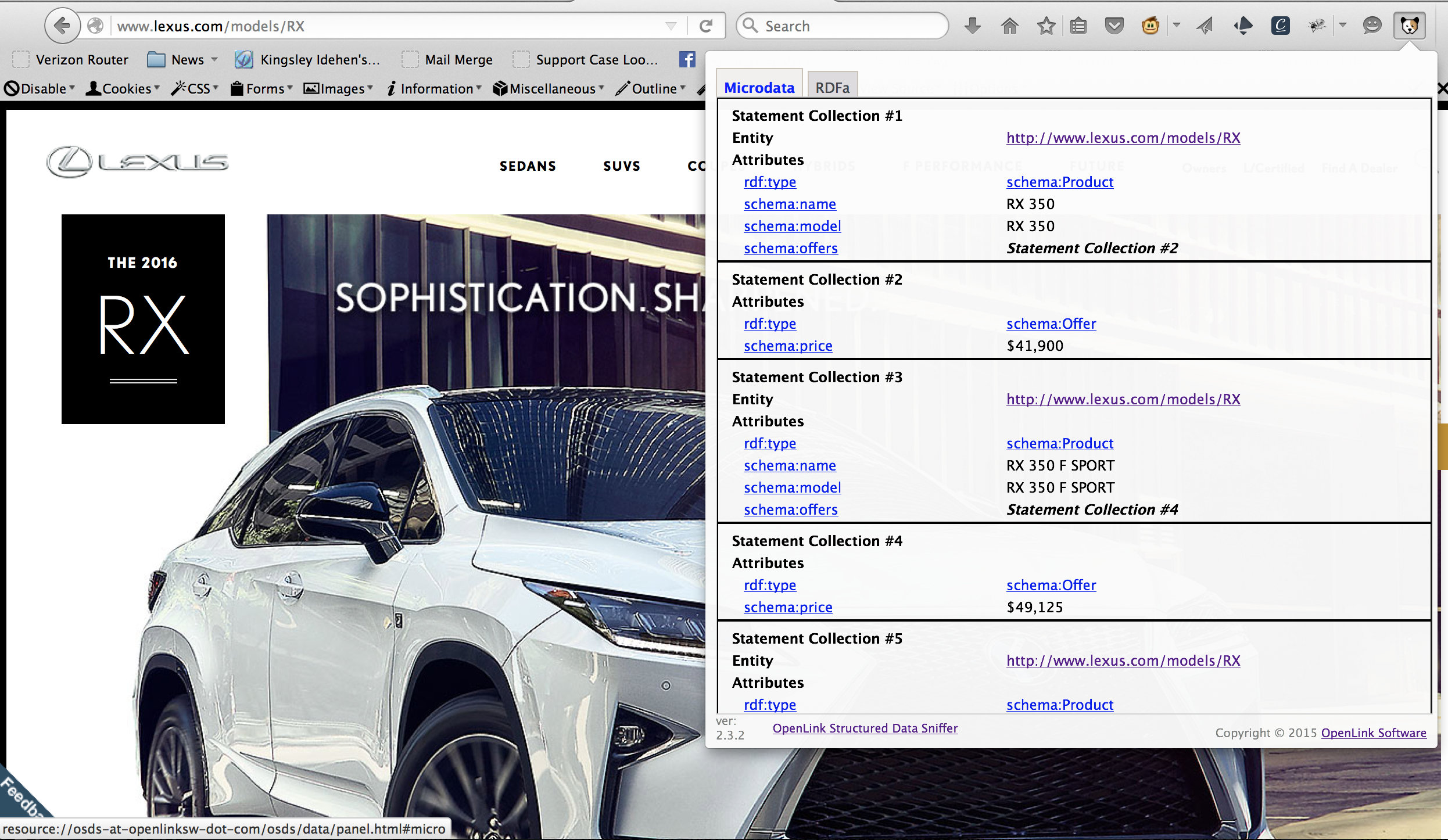 Lexus page showing smart use of HTML5+Microdata based Linked