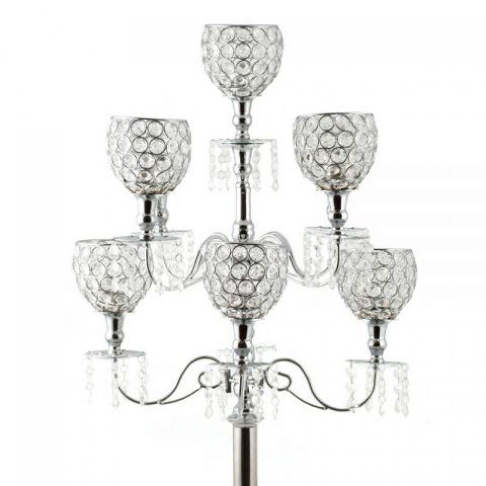 Wedding Candelabras - 36 Avril Crystal Candelabra Centerpiece - 9 ...