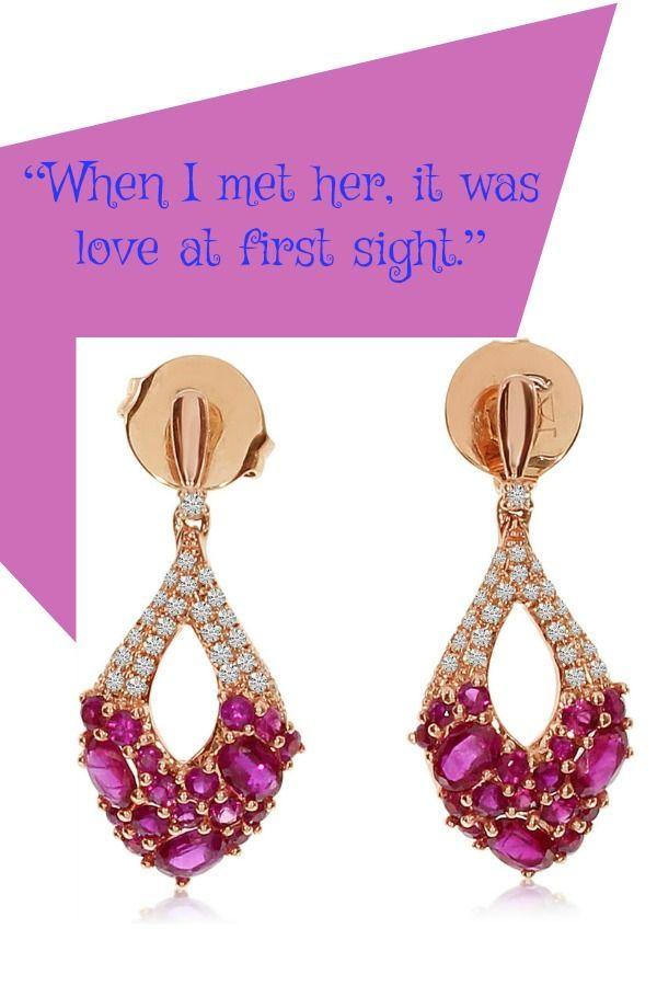 Ruby & Pink Sapphire Cluster Diamond Dangle Earrings 14k Rose Gold ...
