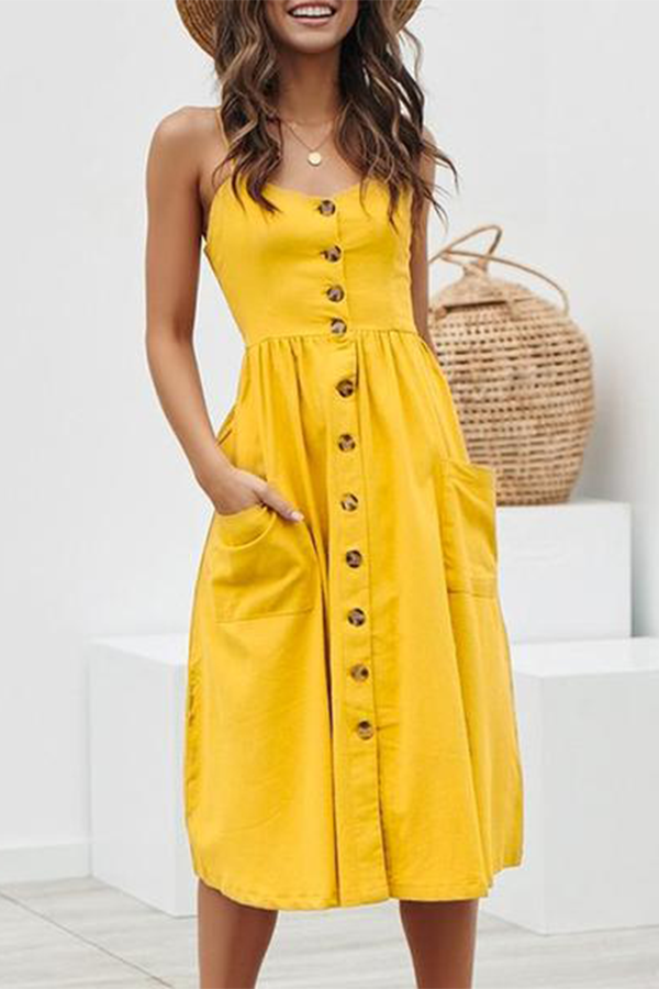 Casual Yellow Summer Dress Midi Length Dress With Pockets And Buttons Dress Outfit Ootd2019 Buttons In 2020 Midi Dress Summer Yellow Dress Summer Cotton Midi Dress
