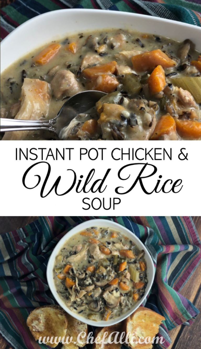 Instant Pot Chicken and Mushroom Wild Rice Soup | Chefalli #ricecookermeals