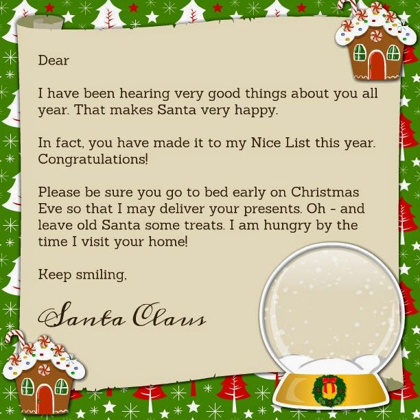 Printable santa claus letter printables pinterest santa letter from santa and nice list certificate our elf on the shelf delivered their letter to them this morning spiritdancerdesigns Gallery