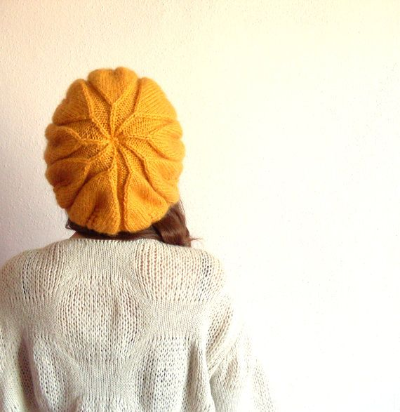 Yellow Leaf Beanie by theknittingsea on Etsy. <3