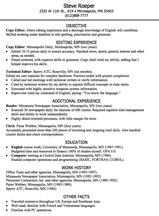 Copy Editor Resume Sample Httpexampleresumecvcopy Editor