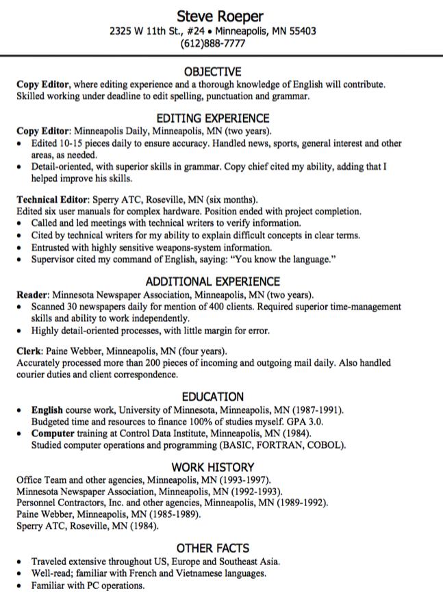 Copy Editor Resume Sample Examples Resume Cv