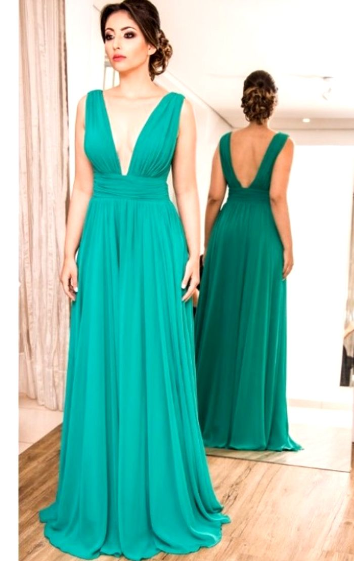 Deep V neck Chiffon Long Prom Dress Turquoise Formal Evening Gown ...