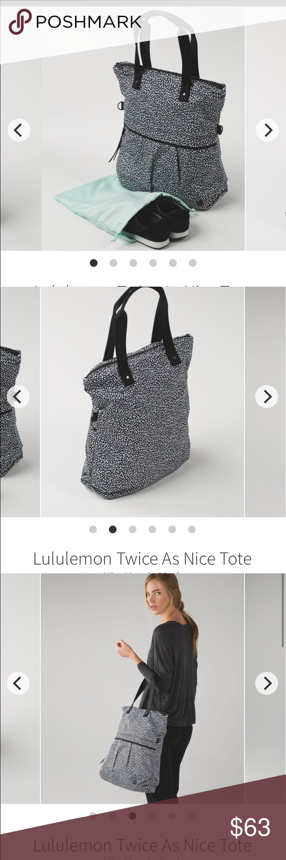 413481a8e0 Versatile bag with lots of room & pockets for all your stuff! Handles and  shoulder strap. lululemon athletica Bags Totes. Lululemon Twice as Nice ...