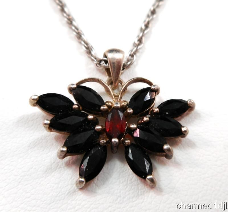 925 sterling silver butterfly black crystal garnet pendant 925 sterling silver butterfly black crystal garnet pendant necklace 15l by gsj mozeypictures Image collections
