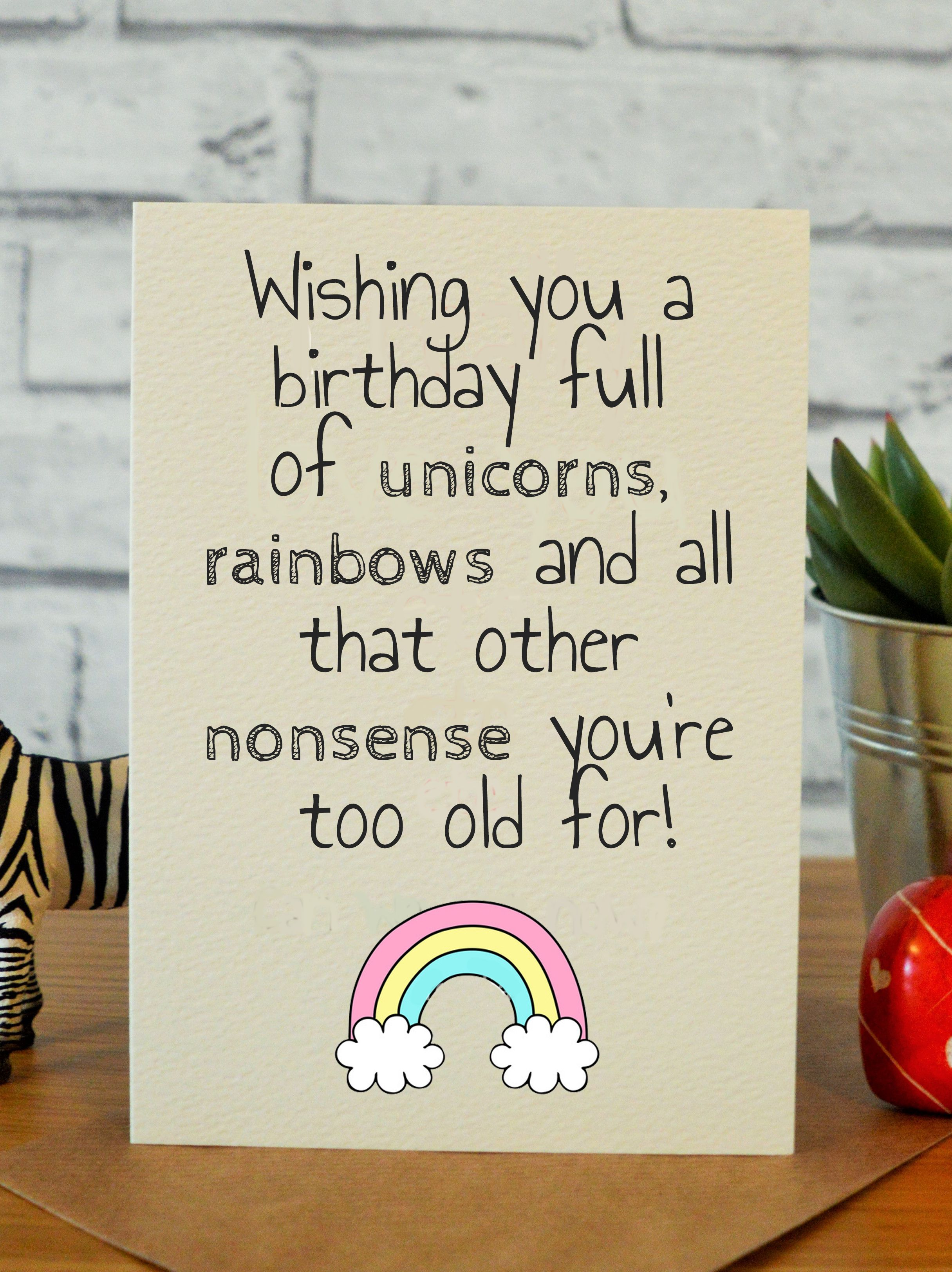 Sensational Unicorn Rainbows Nonsense Best Friend Birthday Cards Funny Birthday Cards Online Fluifree Goldxyz