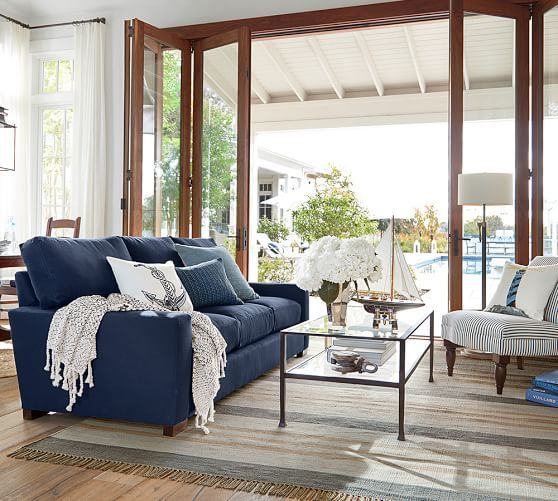 Turner Square Arm Upholstered Love Seat without Nailheads, Down Blend Wrapped Cushions, Washed Linen/Cotton Ivory At Pottery Barn - Furniture images